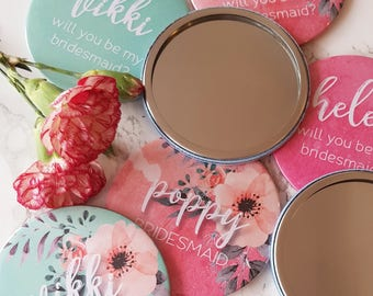 Personalised Compact Mirror - Bridesmaid Mirror, Hen Party Gift, Will You Be My Bridesmaid
