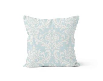 Blue Damask Pillow Cover - Osborne Powder Blue - Lumbar 12 14 16 18 20 22 24 26 Euro - Hidden Zipper Closure
