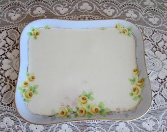Antique B and Co, Bernardaud and Co Limoges France Yellow Rose Blue Gold Trim Dresser Tray, Limoges France Dresser Vanity Tray