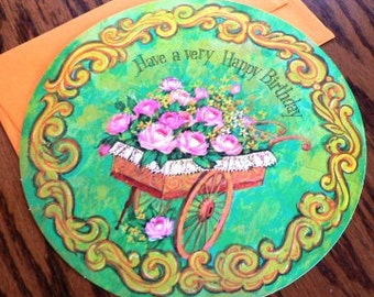 vintage cards ...  ROUND HAPPY BIRTHDAY cart of flowers Card with envelope ...