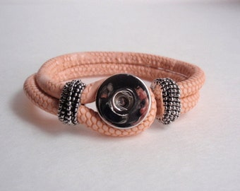 1 Peach PU Leather Brass Snap Bracelet  Jewelry making Supply, Just add Chunk buttons, Noosa style,