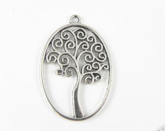 4 Tree Pendant Charms  - 40mm x 27mm - Double Sided - Tree Branches