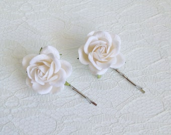 White Rose Hair Clips, wedding hair accessories, bridal hair clips, white rose pins, flower hair clips, rose bobby pins, flowergirl