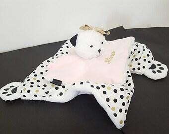 Doudou chat rose, blanc, rose pale et or/ Doudou fait main/ Cadeau de naissance fille/ cadeau de baptême/  peluche chat fille