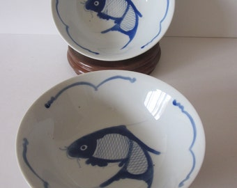 Chinese Porcelain Koi Fish Bowls Hand Painted Blue Cobalt Home Decor Chinese Markings