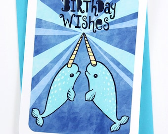 Narwhal Happy Birthday Wishes - funny birthday card for boyfriend birthday card friend birthday card best friend narwhal birthday card cute