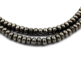 4x3mm Pyrite Rondelle Beads (A Grade) -16 inch strand