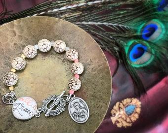 Catholic Bracelet * Christian Bracelet * Beaded Bracelet * St. Therese Medal Bracelet * Catholic Jewelry