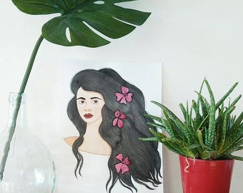 Illustration portrait Tatiana - watercolor and gouache painting