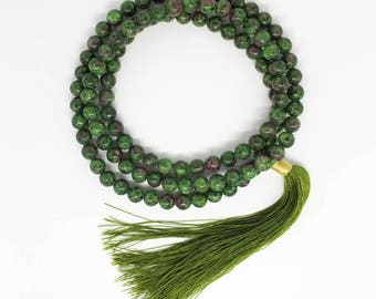 Ruby Zoisite 8.2 mm Beaded Mala Tassel Necklace