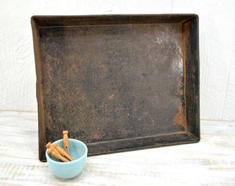 Old Rustic Baking Pan - primitive storage tray - Large