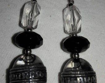 Acrylic Clear and Black With Silver Accents Vintage Pierced Earrings