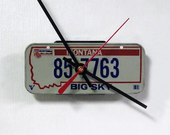 Montana Bicycle License Tag Wall Clock - Mini 1981 MT License Plate - Big Sky - Bicentennial