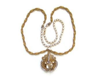 Vintage Miriam Haskell Necklace Baroque Pearl Gilt Metal Filigree Clear Rhinestones