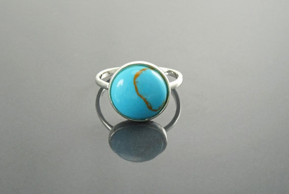 New 2017 Blue Turquoise Stacking Ring, Silver 925, Small Round, Domed Stone, Geometric Simple Turquoise Jewelry, Dainty Modern Minimalist