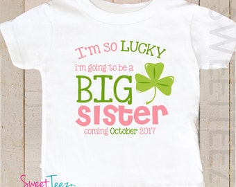 Big Sister Shirt St Patrick's day Shirt Big cousin Lucky clover Sibling Announcement Personalized Shamrock Shirt