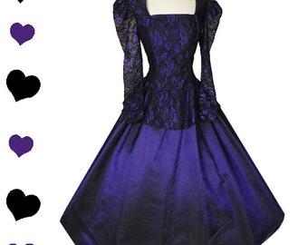 Vintage 80s Dress / 80s Prom Dress / Victorian Dress / M Medium Party Puff Sleeve Purple Black Taffeta Lace Full Skirt Gown Long Sleeve Glam