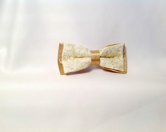 children bow tie, white and gold