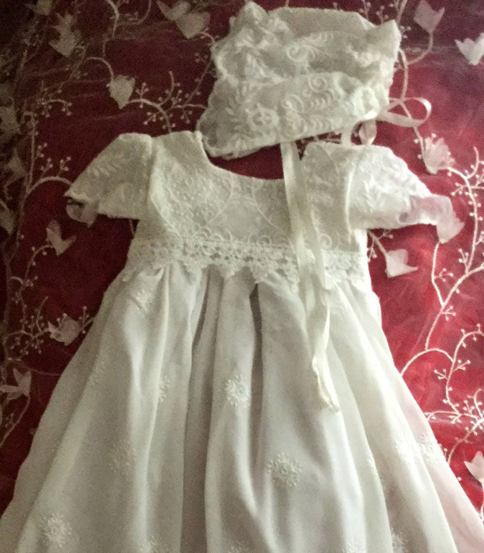 lace Christening dress for baby girl handmade baptism baby