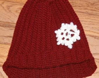 Messy Bun Hat with Snowflake