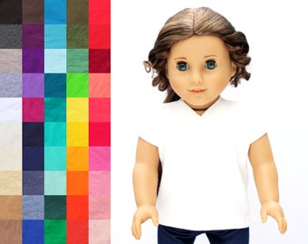 Fits like American Girl Doll Clothes - V-neck Tee, You Choose Color | 18 Inch Doll Clothes