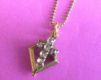 30% SALE: Petite Goldtone Rhinestone Cross,  Vintage Openwork Cross, Cross & Goldtone Chain Cross Necklace, Gold Cross, Necklace