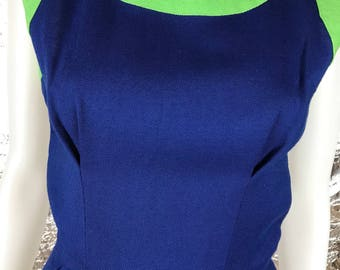 Vintage 1960's Mod Blue & Green Sleeveless Fitted Dress, Size S