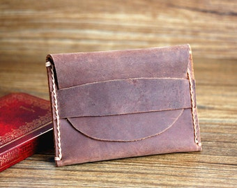 Leather Card Holder, Minimailist Flapped Wallets, Card Slots, Groomsman' Gift, Handmade Wallet, Distressed Leather, Short Wallet - R004