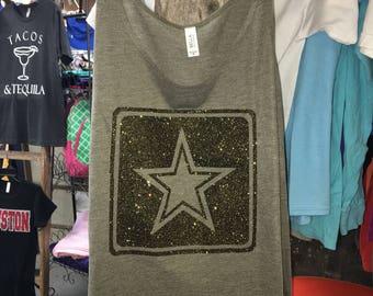 Glitter Army Star Logo Slouchy Tank