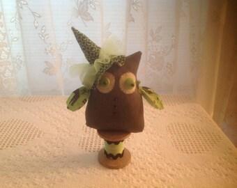 Owl Halloween owl Witch owl Folk art owl Wood spool Witch hat Folksy owl Owl collector  Primitive owl