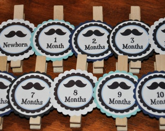 Mustache Photo Clips. mustaches. Same Design. mustache party. Photo Clips. Set of 13. Newborn-12 Months. White. Black. Navy. Light Blue.