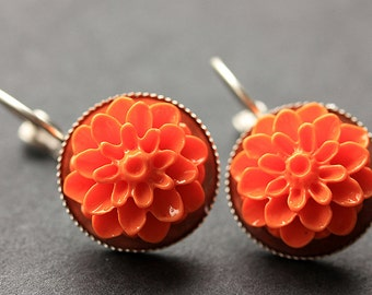 Orange Dahlia Flower Earrings. French Hook Earrings. Orange Flower Earrings. Lever Back Earrings. Handmade Jewelry.