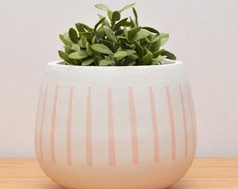 Round White LOCKY Plant Pot Hand Painted in BLUSH - Planter