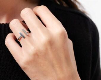 parallel bar ring, double bar ring, bar ring, geometric ring, modern ring, open bar ring, minimalist ring, adjustable ring, silver bar ring