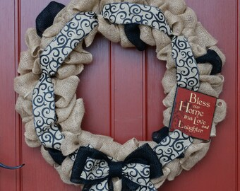 Bless Our Home, Love and Laughter, Large Burlap Wreath, Rustic Wreath, Front Door Wreath, Spring Wreath, Summer Wreath, Fall Wreath
