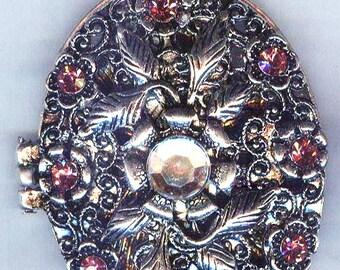 Adorable Pink Rhinestone Silver Locket Pendant 60mm