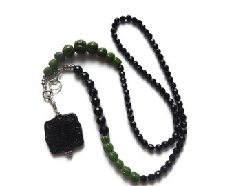 Ancient Jungle - Long Beaded Convertible Asymmetrical Statement Necklace – Black/Green/Silver – Mishimon Designs
