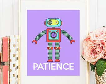 Robot Patience - 8x10 Nursery Art, Robot Art, Home Decor, Nursery Decor, Printable Art, Wall Art, Robot Decor, Robot Print