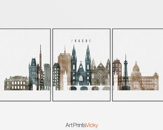 Prague print, 3 piece wall art, Prague poster, Prague skyline, Wall art, triptych of Prague, set of 3 prints, home decor, ArtPrintsVicky