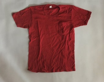 Simple Red 1980's chest pocket T