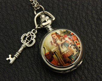 Necklace Pocket watch vintage Alice in Wonderland 2222m