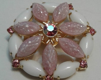 Pink and White Glass Navette Brooch
