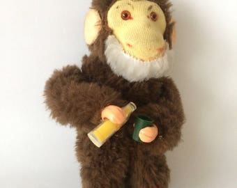 Vintage Old Toy Mechanical Soda Drinking Monkey *** Windup Toy *** German Collectors Item