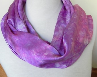 Large Silk Satin Scarf, Shawl Hand Dyed Shades of Orchid and Violet, Silk Scarf #465, Ready to Ship, 14 x 68 inches