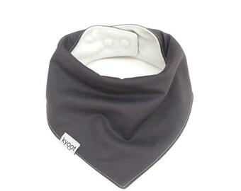 Baby Bandana Bib, dribble bib, baby drool bib, baby scarf bib, toddler scarf bib, toddler drool bib, solid gray color