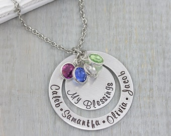 Personalized Mom Necklace - Personalized Jewelry - Grandmother Jewelry - Mothers Day Gift for Her - Hand Stamped Necklace Gift for Grandma