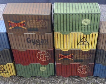 Cargo Containers 14 - 2 each of 7 types / Shipping containers for 28 to 35mm scif and modern day gaming