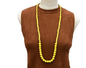 long yellow necklace / yellow necklace / long yellow bead necklace / yellow beaded necklace / wood bead necklace / yellow statement necklace