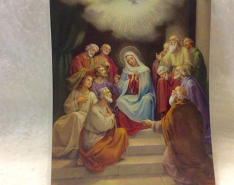 Fratelli Bonella made in Italy large prayer card glorious mystery.  8x10 laminated.
