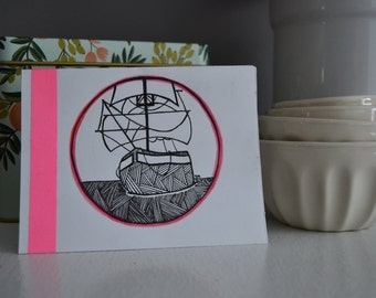 "Hand-Illustrated Blank Card : ""Ride, Captain, Ride"""